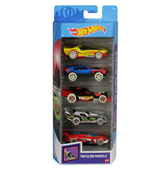 Set 5 masini, Hot Wheels cu roti fluorescente