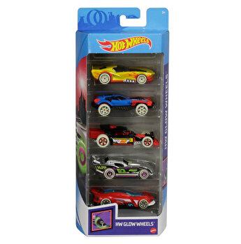 Set 5 masini, Hot Wheels cu roti fluorescente