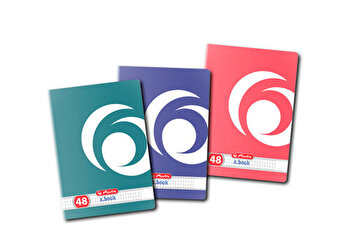 Set 10 caiete A4, patratele, 48 file, colturi rotunjite, motiv Rainbow