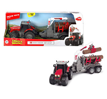 Tractor cu remorca Dickie Toys, Massey Ferguson 8737