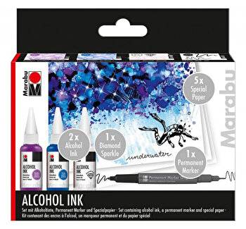 Set cerneala pe baza de alcool Underwater, 3 x 20 ml