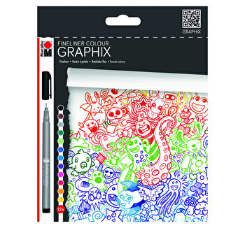 Set 12 linere colorate, Graphix, Marabu