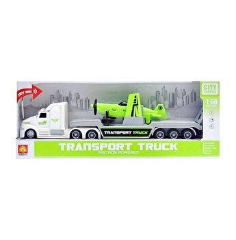 Camion trailer transport avion, cu sunete si lumini, scara 1 la 50
