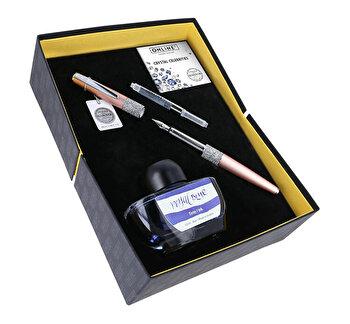 Set Online Crystal Celebrities, stilou cu cristale Swarovski roz auriu, convertor, calimara cerneala