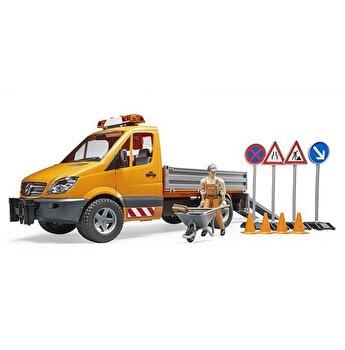 Jucarie Bruder, Commercial - Sprinter municipal Mercedes Benz cu Muncitor, sirena si accesorii