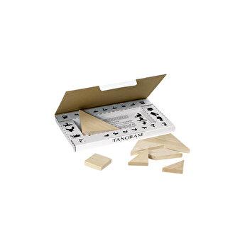 Puzzle lemn Tangram, in cutie