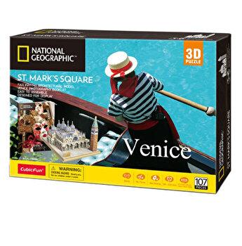 Puzzle 3D + Brosura Piata San Marco, 107 piese