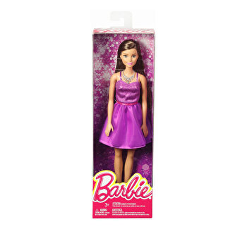 Papusi Barbie, tinute stralucitoare rochita mov