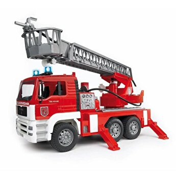 Jucarie Bruder, Emergency - Camion de pompieri Man Tga cu scara, pompa de apa si sirena