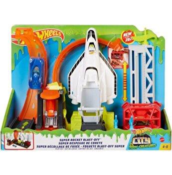 Set de joaca Hot Wheels - Super Rocket, Lansarea