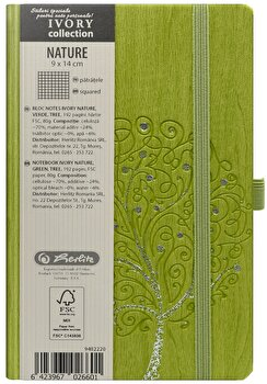 Bloc Notes Ivory Nature, 192 pagini, patratele, coperta PU, verde, motiv Tree