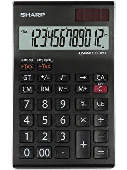 Calculator de birou Sharp EL-124TWH, 12 digits, negru/alb