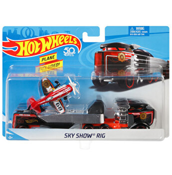 Set camion si masina sport, Hot Wheels Sky Show Rig