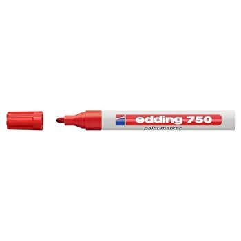Marker permanent Edding 750, cu vopsea, corp metalic, varf rotund, 2-2-4 mm, rosu