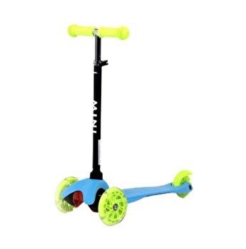 Trotineta pentru copii 3, 3 roti cu leduri, Mini, Blue & Green
