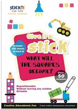 Carte creativa Stick'n Square - patrate neon asortate