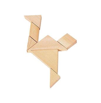Puzzle lemn Tangram, in saculet
