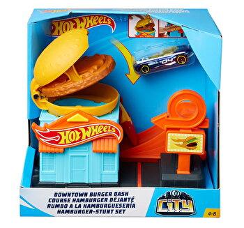 Pista Burger Hot Wheels, cu masinuta inclusa