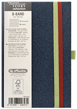 Bloc Notes Ivory B-Band, 192 pagini, dictando, coperta PU, bleumarin