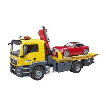 Jucarie Bruder, Commercial - Masina tractare Man Tgs cu masina Roadster cu lumini si sunete