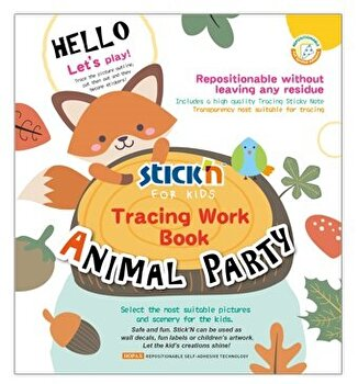 Carte educativa Stick'n Tracing Work Book - Animal Party