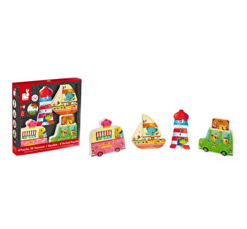 Puzzle lemn 4 in 1 - Vacanta, 14 piese