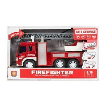 Masinuta de pompieri cu furtun pentru stropire apa, cu sunete si lumini, scara 1 la 16