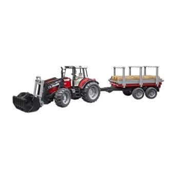 Jucarie Bruder, Forestry - Tractor Massey Ferguson 7480 cu incarcator frontal si remorca pentru lemne