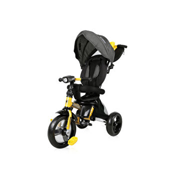 Tricicleta multifunctionala 4 in 1, Enduro, scaun rotativ, Yellow & Black