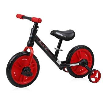 Bicicleta de tranzitie 2 in 1, Energy, cu pedale si roti auxiliare, Black & Red