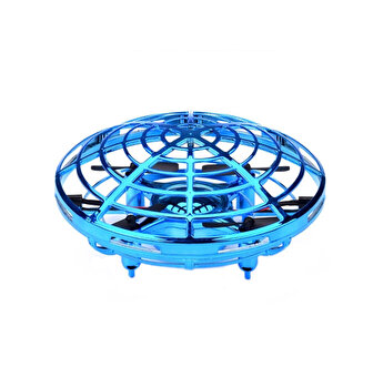 Mini Drona UFO MRG M-909, Senzori infrarosu, Diametru 11 cm, Albastru