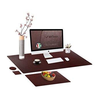 Set mapa birou Office pentru protectie, Unika, din piele PU, 1 suport farfurie si 2 suporturi pahar, maro, 89 cm