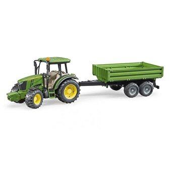 Jucarie Bruder, Agriculture - Tractor John Deere 5115M cu remorca basculabila