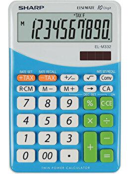 Calculator de birou Sharp, 10 digits, dual power, gri/bleu