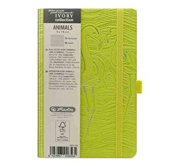 Bloc Notes Ivory Animals, 192 pagini, dictando, coperta PU, galben, motiv Flamingo