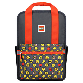 Rucsac Casual LEGO Tribini Fun Large - design Heads and Cup, rosu