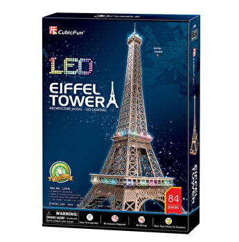 Puzzle 3D Led - Turnul Eiffel, 82 piese