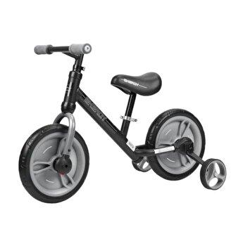 Bicicleta de tranzitie 2 in 1, Energy, cu pedale si roti auxiliare, Black & Grey