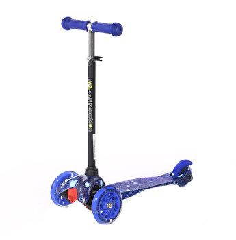 Trotineta pentru copii, 3 roti cu leduri, Mini, Blue Cosmos
