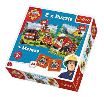 Puzzle Trefl i2n1 memo pompierii in actiune