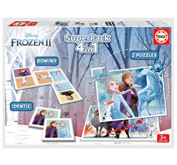 Superpack Frozen 2 - Joc Domino, Joc Identic, 2 x Puzzle 25 piese