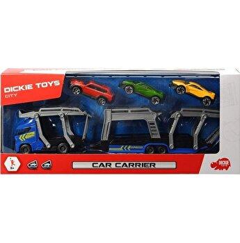 Set Dickie Toys, Trailer cu 3 masinute metalice, 28 cm, albastru