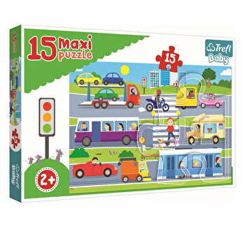Puzzle Trefl Maxi vechicule in oras, 15 piese