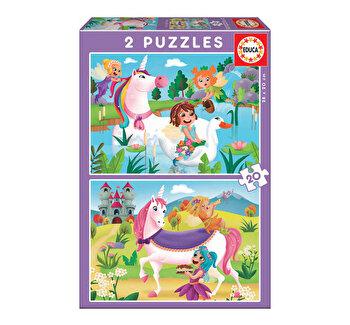 Puzzle Unicorns and Fairies, 2 x 20 piese