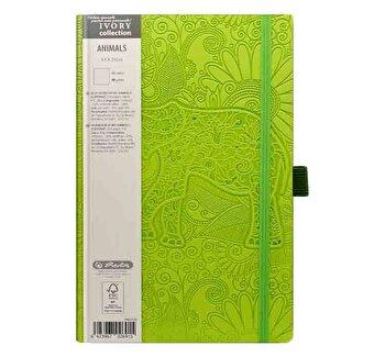 Bloc Notes Ivory Animals, 240 pagini, velin, coperta PU, verde, motiv Elephant