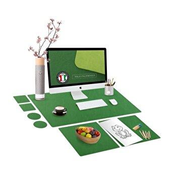 Set mapa birou Family & Friends pentru protectie birou, Unika, din piele PU cu 2 suporturi farfurie si 4 suporturi pahar, verde, 69 cm