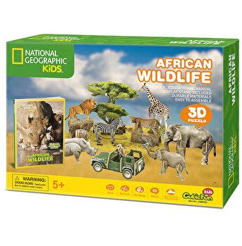 Puzzle 3D + Brosura Animale Salbatice, 69 piese