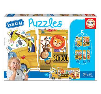 Puzzle Baby Animals School Bus, 19 piese