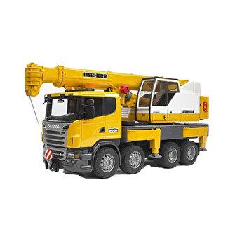 Jucarie Bruder, Construction - Camion cu macara Scania R-Series Liebherr, cu lumini si sunete