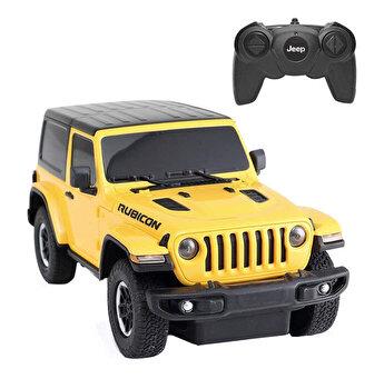 Masina cu telecomanda Jeep Wrangler Rubicon, galben, scara 1 la 24
